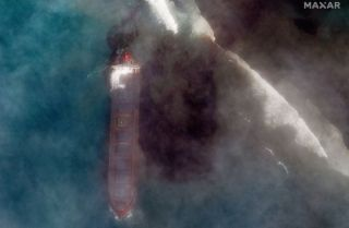 Oil spill off Mauritius is visible from space | Space